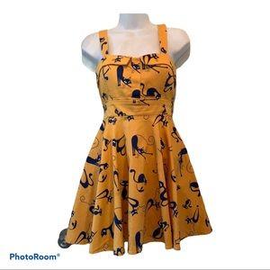 Naty BK yellow and blue cat dress sz M